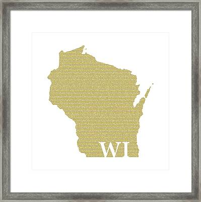 Wisconsin State Map With Text Of Constitution Framed Print