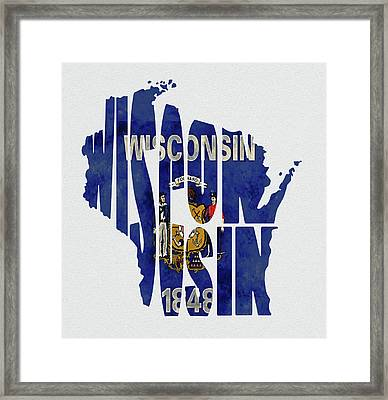 Wisconsin Typography Map Flag Framed Print