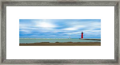 Framed Print featuring the photograph Wisconsin Winter Lakefront by Steven Santamour