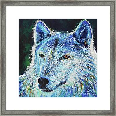 Framed Print featuring the painting Wise White Wolf by Angela Treat Lyon