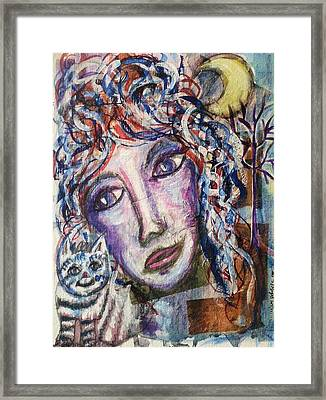 Wise Woman And Her Young Familiar Framed Print by Mimulux patricia no No