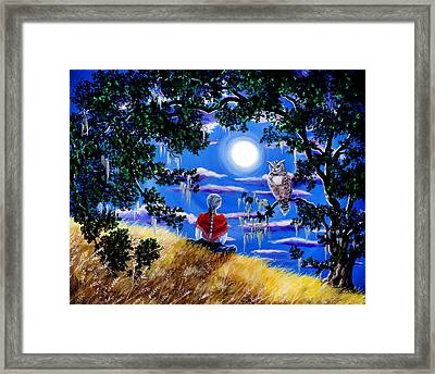 Wise Woman And Owl Full Moon Meditation Framed Print by Laura Iverson