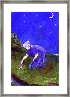 Wise Woman Finds Herbs Framed Print by Doris Blessington