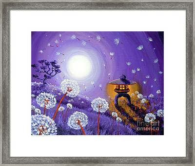 Wishes By A Stone Lantern Framed Print by Laura Iverson