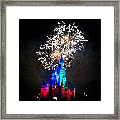 Wishes Fireworks Show Framed Print by Lea Ward