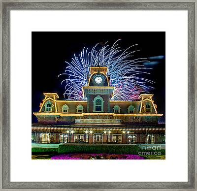 Wishes Over Magic Kingdom Train Station. Framed Print