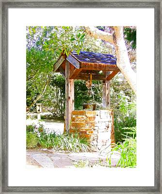 Wishing Well Cambria Pines Lodge Framed Print