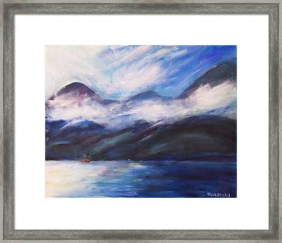 Framed Print featuring the painting Wispy Clouds by Yulia Kazansky