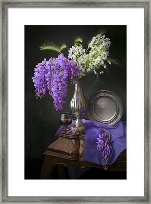 Wisteria And Allium Ursinum Framed Print