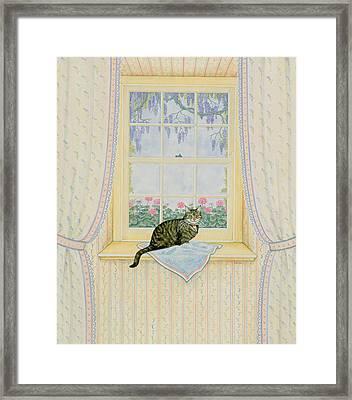Wisteria Cat Framed Print by Ditz