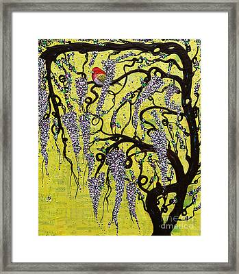 Framed Print featuring the mixed media Wisteria Delight by Natalie Briney