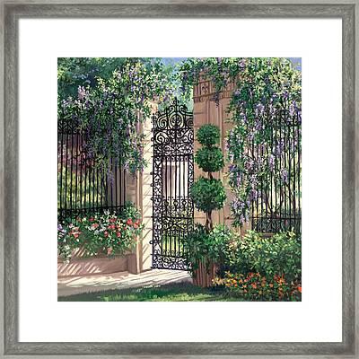 Wisteria Gate Framed Print
