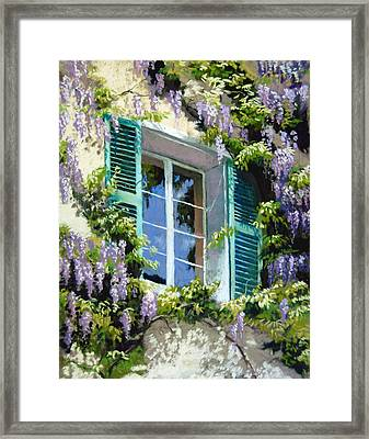 Wisteria In Provence Framed Print by Jeanne Rosier Smith