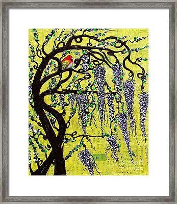 Framed Print featuring the mixed media Wisteria Joy by Natalie Briney