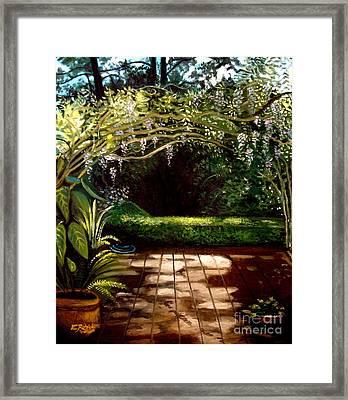 Wisteria Shadows Framed Print by Elizabeth Robinette Tyndall