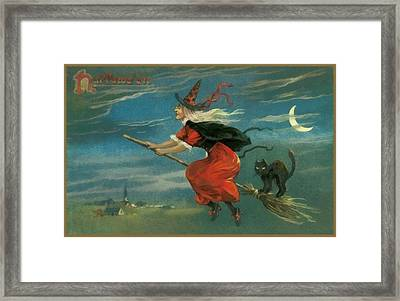 Witch In Red On Her Flying Boom Framed Print by Unknown