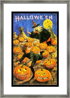 Witch In The Pumpkin Patch Framed Print