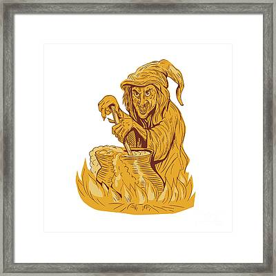 Witch Stirring Brew Pot Drawing Framed Print by Aloysius Patrimonio