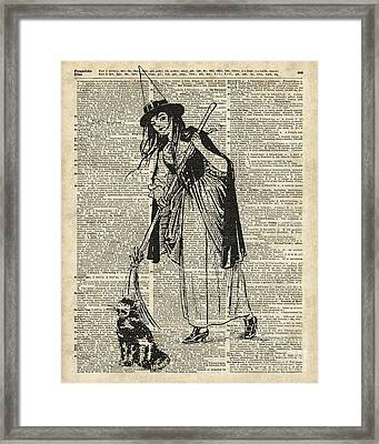 Witch With Broom And Cat Haloowen Party Decoration Gift In Vintage Style Framed Print by Jacob Kuch