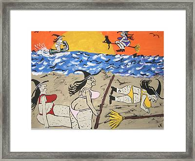 Witches Day At The Beach Framed Print