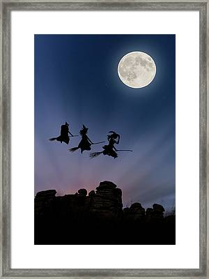 Witches Over Combstone Tor Framed Print by Maggie McCall