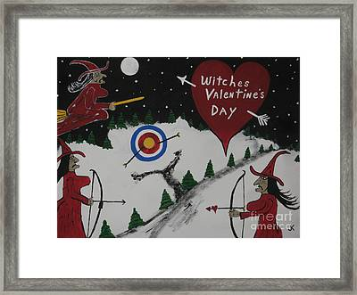Witches Valentine's Day Framed Print