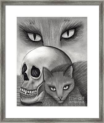 Framed Print featuring the drawing Witch's Cat Eyes by Carrie Hawks