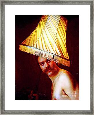 With A Lampshade On His Head Framed Print