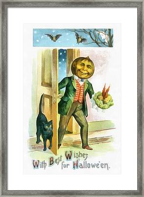 With Best Wishes For Halloween Framed Print by Unknown