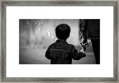 With Dad And Bubbles Framed Print by Dieter Lesche