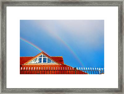 With Double Bless Of Rainbow Framed Print