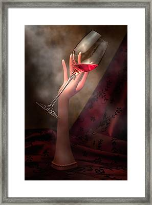 With Glass In Hand Framed Print