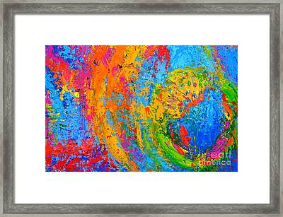 Within Circles 2 - Colorful Modern Abstract  Painting Palette Knife Work Framed Print by Patricia Awapara