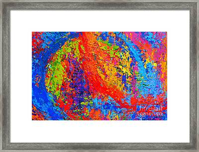 Within Circles - Colorful Modern Abstract Painting Palette Knife Work Framed Print by Patricia Awapara