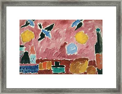 With Red Swallow-patterned Wallpaper Framed Print by Alexej von Jawlensky