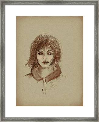 With Short Hair Framed Print