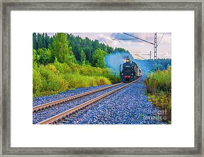 With The Force Of Steam Framed Print