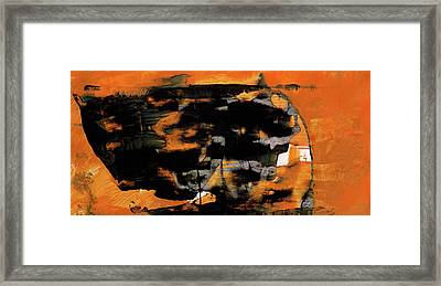 Within - Orange And Black Abstract Painting Framed Print by Modern Art Prints