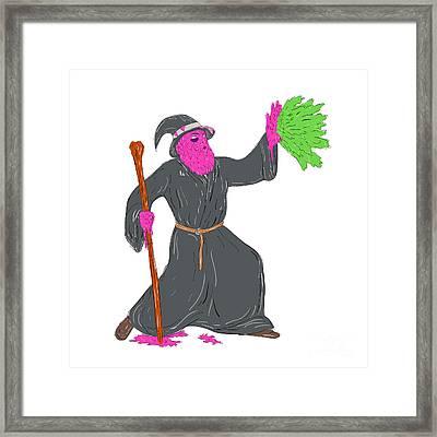 Wizard Casting Spell Grime Art Framed Print