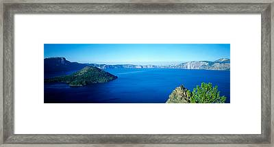 Wizard Island At Crater Lake, Oregon Framed Print by Panoramic Images