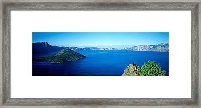 Wizard Island At Crater Lake, Oregon Framed Print