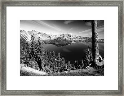 Wizard Island On Crater Lake B W Framed Print by Frank Wilson