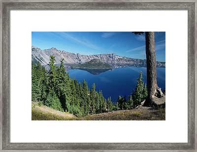 Wizard Island On Crater Lake Framed Print by Frank Wilson