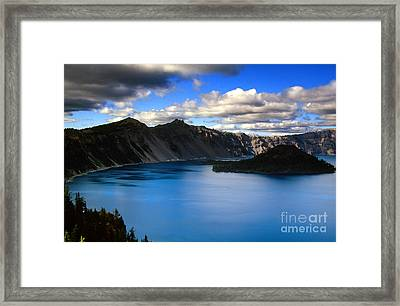 Wizard Island Stormy Sky- Crater Lake Framed Print