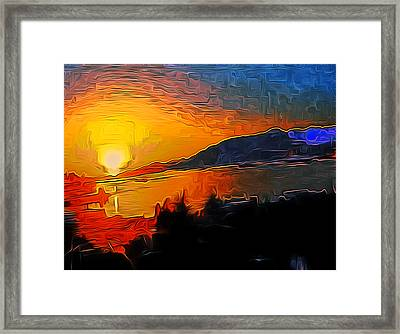 Wnw Sunset Framed Print by A Blackwell