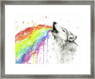 Wolf And Rainbow  Framed Print by Olga Shvartsur