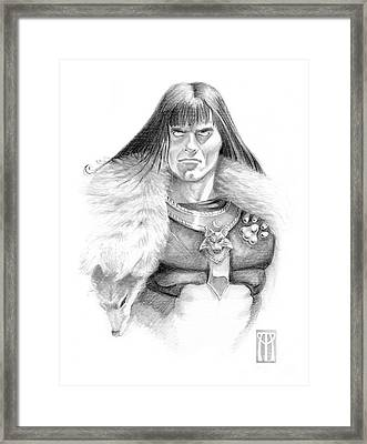 Wolf Barbarian Framed Print by Melissa A Benson