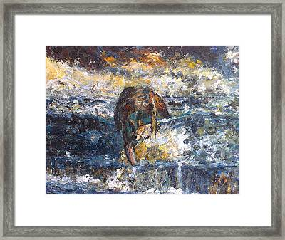 Framed Print featuring the painting Wolf Crossing The River by Koro Arandia