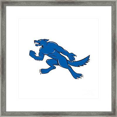 Wolf Dog Clenching Fist Cartoon Framed Print by Aloysius Patrimonio