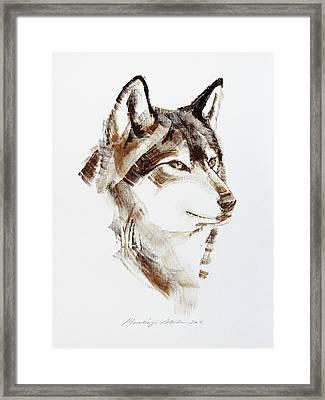 Wolf Head Brush Drawing Framed Print